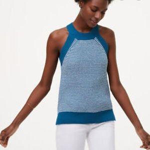 Ann Taylor LOFT Striped Halter Sweater Blue White